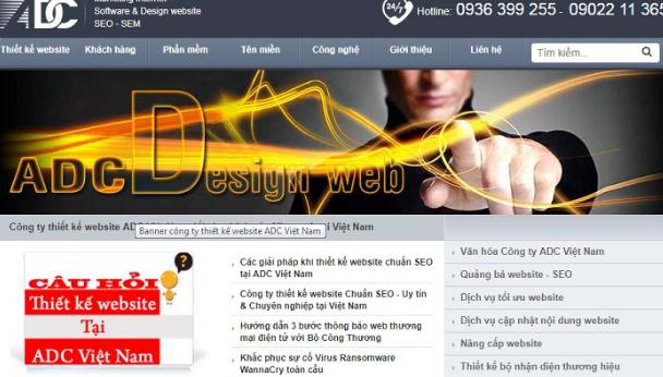 Công ty thiết kế website ADC Vietnam.